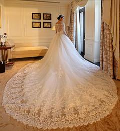 Vestidos de noiva imagens de trem longo on-line-Imagem Real 3/4 Mangas Compridas Vestidos de Casamento Sheer Ilusão V Decote Contas Lace Tulle Capela Trem Vestidos de Noiva A-Line