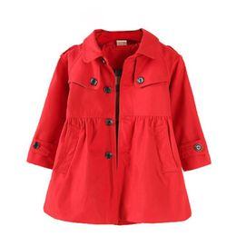 giacca sveglia della ragazza sveglia Sconti Girl's A-line Red Overcoat Maniche lunghe Turn Over Collar Cute Trench Coat Per Neonate Kids Soft Three Quaters Giacca lunga