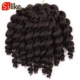 Wholesale Curling Wand For Hair - Silike 8 inch Jumpy Wand Curl Crochet Braids 22 Roots Jamaican Bounce Crochet Braiding Hair 9 Colors Available for Black Women