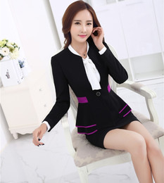 Wholesale Women Working Skirt Suits - New Professional Business Blazers Suits Uniform Styles Ladies Work Wear Blazer And Skirt Autumn And Winter Outfits Sets S-4XL