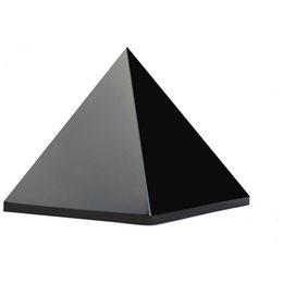 Decoração egípcia on-line-Natural antigo preto obsidiana egito pirâmide paperweight feng shui estatuetas egípcias miniaturas ofício presente para decoração de casa