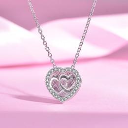 Pendente cuore pendente online-Pure 925 Solid Silver 3D Beating Heart Pendant Neckalce Argento Oro rosa kolye Cuore Donne Regalo Fidanzata Gioielli mujer joyasY1882701