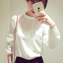 Wholesale plus size business casual clothes - Women Apparel Blouses New Fashion Casual Spring Long Sleeve Chiffon White Party Club Business Work Clothing Plus Size