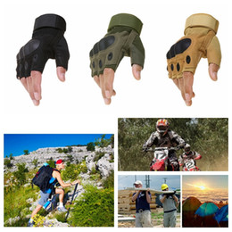 2019 guantes airsoft medio dedos 1 par táctico guantes sin dedos de tiro al aire libre Paintball Airsoft Bicicleta Motocross Combate Hard Knuckle Half Finger Gloves DDA593 guantes airsoft medio dedos baratos