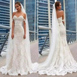 Wholesale Cheap Corset Back Wedding Dresses - 2018 Gorgeous Mermaid Lace Wedding Dresses Elegant Full Lace Appliques Corset Back Cheap Long Train Wedding Gowns Bridal Gowns BA7630