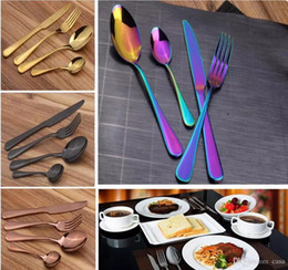 Wholesale Metal Dinner Plates Wholesale - Stainless Steel Cutlery Set Rainbow Gold Plated Dinnerware Fork Knife Spoon Dinner Set for Wedding Party 4pcs set 300Set