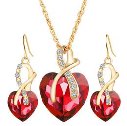 Wholesale Wholesale Dinner Plates Wedding - DHL Women Austria Zircon Crystal Alloy Necklace Earrings Jewelry Set Heart Shape Pendant Stud Earrings Women's Wedding Dinner Luxury Jewelry