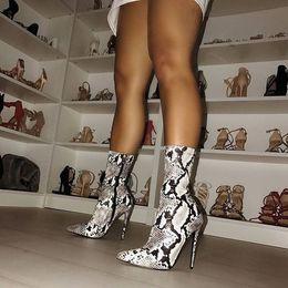 10fd0d0aa1 Boussac Sexy Snake Print High Heel Women Boots 41 42 Size Pointed Toe Sock Boots  Women Short Ankle Boots Women SWE0306