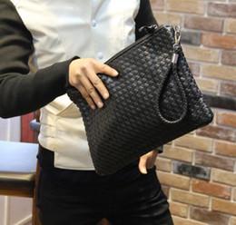 sacs en cuir tissé Promotion Sacs en cuir d'embrayage en cuir de portefeuille de nouveaux hommes de vente en gros gros-vente de sacs à main de stockage de sac à main de tissage d'embrayage