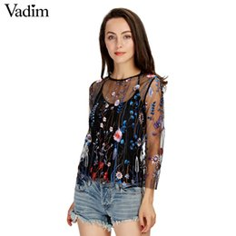 Wholesale Transparent Sexy Blouses - Wholesale- Vadim women sexy see through floral embroidery mesh shirts transparent long sleeve blouse female casual brand tops blusas LT1810