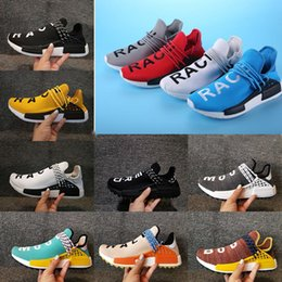 Wholesale Step Up Boost - Best selling Pharrell's Runners and Trainers White, black NMD Boost Running Shoes,NMD Human Race Runner Boost Hu race walking step online PE
