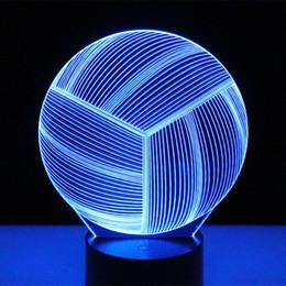 2019 décorations de mariage de citrouilles blanches Volley-ball de lumière de nuit de 3D LED avec la lumière de 7 couleurs pour la lampe de décoration à la maison étonnante visualisation illusion optique impressionnant