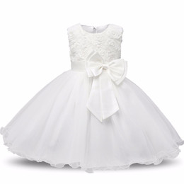 baby frocks designing Coupons - Baby Girl Christening Gowns Newborn Bebes 1 Year Birthday Dress Fuffly Baby Frocks Designs Infant Princess White Party Costume 0-2 Years