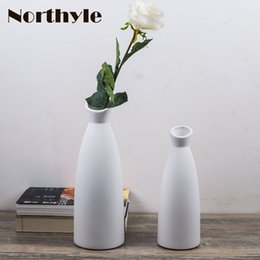 Wholesale Ceramic Bottle Vase - Simple vase modern ceramic Flower Vase home Decorative flower white bottle art crafts house ornament furnishing