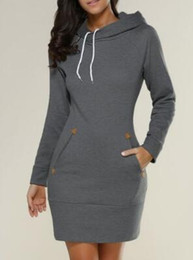 Wholesale Gone Dresses - Women's Going out Casual Street chic Hoodie Solid Hooded Inelastic Cotton Long Sleeve Winter Fall