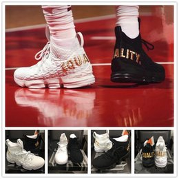 Wholesale James Shoes White Black - 2018 New Arrival James 15 EQUALITY Black White Basketball Shoes for Men AAA+ quality What the 15s EP Sports Training Sneakers Size 40-46