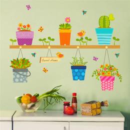 2019 vasi da finestra % Fai da te adesivi murali decorazioni per la casa vaso di fiori in vaso finestra di vetro stickers murali rimovibile bonsai uccelli farfalla murale poster decor vasi da finestra economici