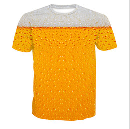 Wholesale Beer Neck - Fashion Beer Printed Short Sleeve T-shirt Crew Neck Tee Plus Size L-6XL