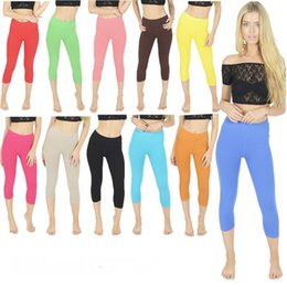 Wholesale xl womens leggings - Womens Leggings Ladies Legging Womens Cropped Cotton Leggings Mid Calf Length Summer