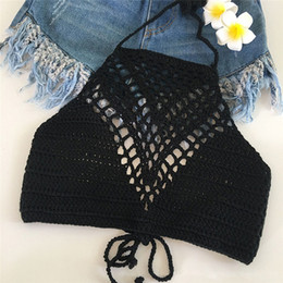 279f96b2abe208 Vintage Crochet Crop Top Beachwear Sexy Hot Hollow Out Lace Bralette  Knitting Handmade Y Tops Fitness Cropped discount knit bralette
