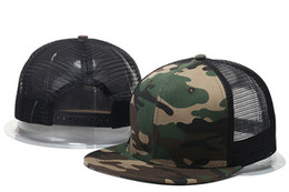 Snapback hats camo on-line-2018 Atacado New Arrival camo de malha em branco homens ajustável casquette bonés de beisebol chapéus de sol preto hip hop snapback ossos gorras Chapeu bboy