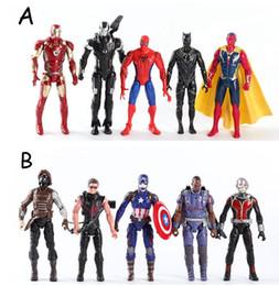 Wholesale black iron rubber - Avengers Action Figures Toys 5 pieces lot 16cm Iron Man Black Panther PVC Model Toys Kids Toys 16cm KKA5033