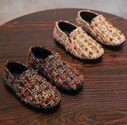 Wholesale Pageant Slips - Spring kids shoes girls rivet rhinestones princess shoes 2018 New children colorful tassel pageant shoes girls non-slip single shoe R2238