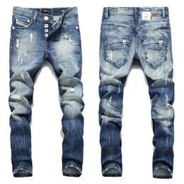 italienische denim-marken Rabatt Straight Fashion Herren Jeans Balplein Marke Straight Fit Ripped Jeans Italienischer Designer Distressed Denim Jeans Homme New Button Fly