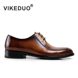 Wholesale Dance Shoe Male - Vikeduo 2018 hot handmade Vintage Luxury Fashion Casual Wedding Party Dance Leisure male Dress Genuine Leather Men Derby Shoes