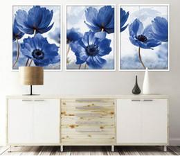marcos para cuadros de flores Rebajas Nordic Simole flores azules 3 unidades pinturas decorativas Wall Art Print foto lienzo pintura cartel para sala de estar sin marco