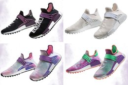 Wholesale Trail Outdoor - 2018 new best quality NMD Human Race trail Running Shoes Men Women Pharrell Williams Holi Blank Canvas sports shoes size 36-45