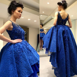 Wholesale Elie Saab Graduation Dresses - Elie Saab Hi Low Party Prom Dress 2018 Beach Boho Lace Short Front Long Back 8th Graduation Homecoming Gown Clubwear Evening Wear Country