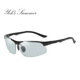 military sunglasses brands Coupons - Yok's Summer Photochromic Sunglasses Male Polarized Discoloration Military Goggle Rimless Aluminum Chameleon Brand Eyewear HN032