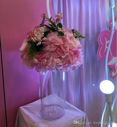 Wholesale pink station - Artificial Rose Hydrangea Kissing Ball Wedding Road Cited Flower Roman Column Lead Bouquet T station Decoration Supplies