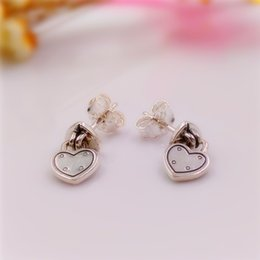 Wholesale Make Drop Earrings - nbn89 Valentines Day Love Locks Drop Earrings made of 925 Sterling Silver Beads Fit European Pandora Style Jewelry