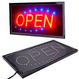 signos de negocios abiertos Rebajas Nuevo movimiento animado brillante que ejecuta la tienda de negocios de LED de neón Compre la señal ABIERTA con el enchufe de conmutador de EE. UU.