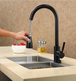 Wholesale German Mount - Fashion German technology high quality brass black and chrome single lever hot and cold pull out sink faucet kitchen tap