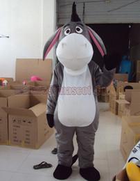 mascote de burro Desconto o traje azul da mascote do burro o tamanho adulto do transporte livre, mascote cinzenta do luxuoso da mascote do brinquedo do peluche do luxuoso a festa do carnaval comemora vendas da fábrica da mascote.