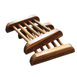 Wholesale Wood Soap - 2016 New Arrivals 1X Natural Wood Soap Tray Holder Dish Box Case Storage Shower Wash Bathroom Top Sale Creative