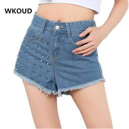 Wholesale Buttons Studs Rivets - WKOUD 2017 New Fashion Studs Rivet Denim Shorts Women's Jeans Short Pants Gold Silver Rivets Blue Shorts CA12185