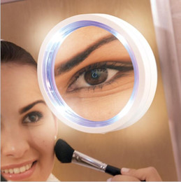 Wholesale magnifying lighted makeup mirror - Portable 8x Led Makeup Mirror Magnifying Cosmetic Makeup Mirror With Power Locking Suction Cup Bright Diffused Light KKA4866