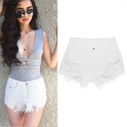 55efdd410b6 Arigeben 2017 Mujeres Blancas Sexy Ripped New Plus Size hole Frayed Edges Jeans  Denim Worn Loose Shorts Casual sueltos buena calidad
