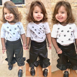 Wholesale Pu T Shirts - Ins New 2018 Fashion Girls Outfits Summer Short Sleeve T Shirt Pu leather flared trousers 2pcs Kids Sets Girls Suits Baby Clothing A1569