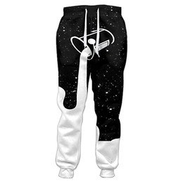 Wholesale printed 3d glasses - 2018 Joggers Pants Men Pouring Into The Starry Night Sky To Fill Up The Galaxy Glass Of Milk 3d Print Sweatpants Casual Trousers