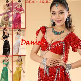 6eb3fa4b01 2018 Belly Dance Costume (Bellydance Bra + Shiny Skirts) Disfraces de  Bollywood Dance 8colors Wear Party Dress Tribal