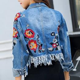 Wholesale Winter Jeans Woman - New Arrival Emroidery Short Denim Female Jacket Floral Long Sleeve Jeans Coat Women Skinny Chaqueta Mujer Autumn Winter Jaqueta 2018