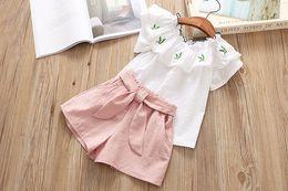Wholesale Girls Ruffle Shirt Embroidery - kids clothing girl elegant Ruffles Pineapple Embroidery white shirt + short kids summer sets free ship
