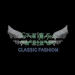Transferências de diamante para asas on-line-Classic Fashion Wings Rhinestone Transferência Atacado Para t-shirt