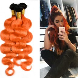 Wholesale Orange Hair Extensions - New Arrival Ombre Orange Hair Extensions 1B Orange Virgin Hair Bundles Ombre Malaysian Body Wave Hair Weave Weft 4Pcs Lot