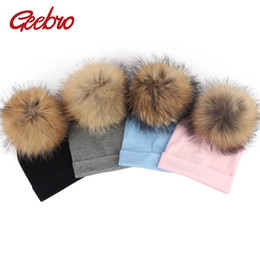 9aa52a586a4 Gebro 6 Months -3 Years Old Baby Girls and Boys Beanie Hat Autumn Cotton  Raccoon Pompom Skullies Beanies Newborn Kids Plain Hats